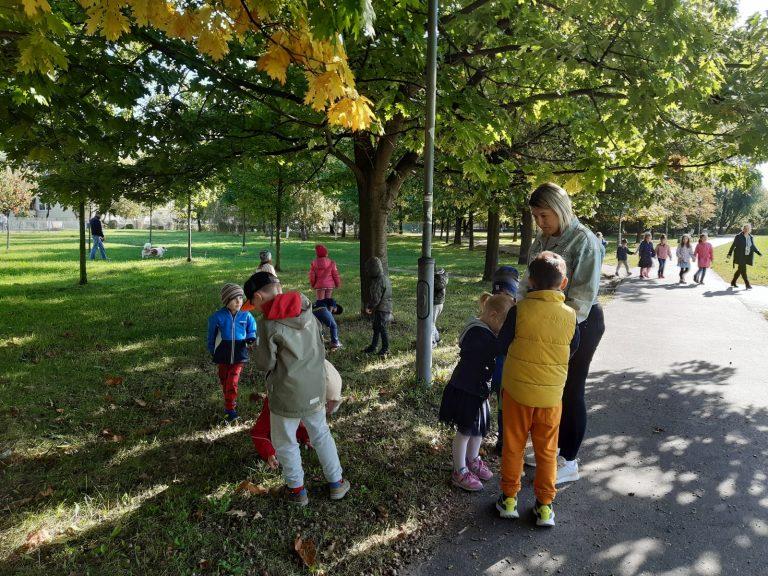 dzieci zbierają liście